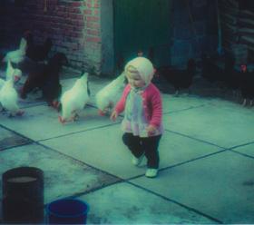 Marie mit Huhn